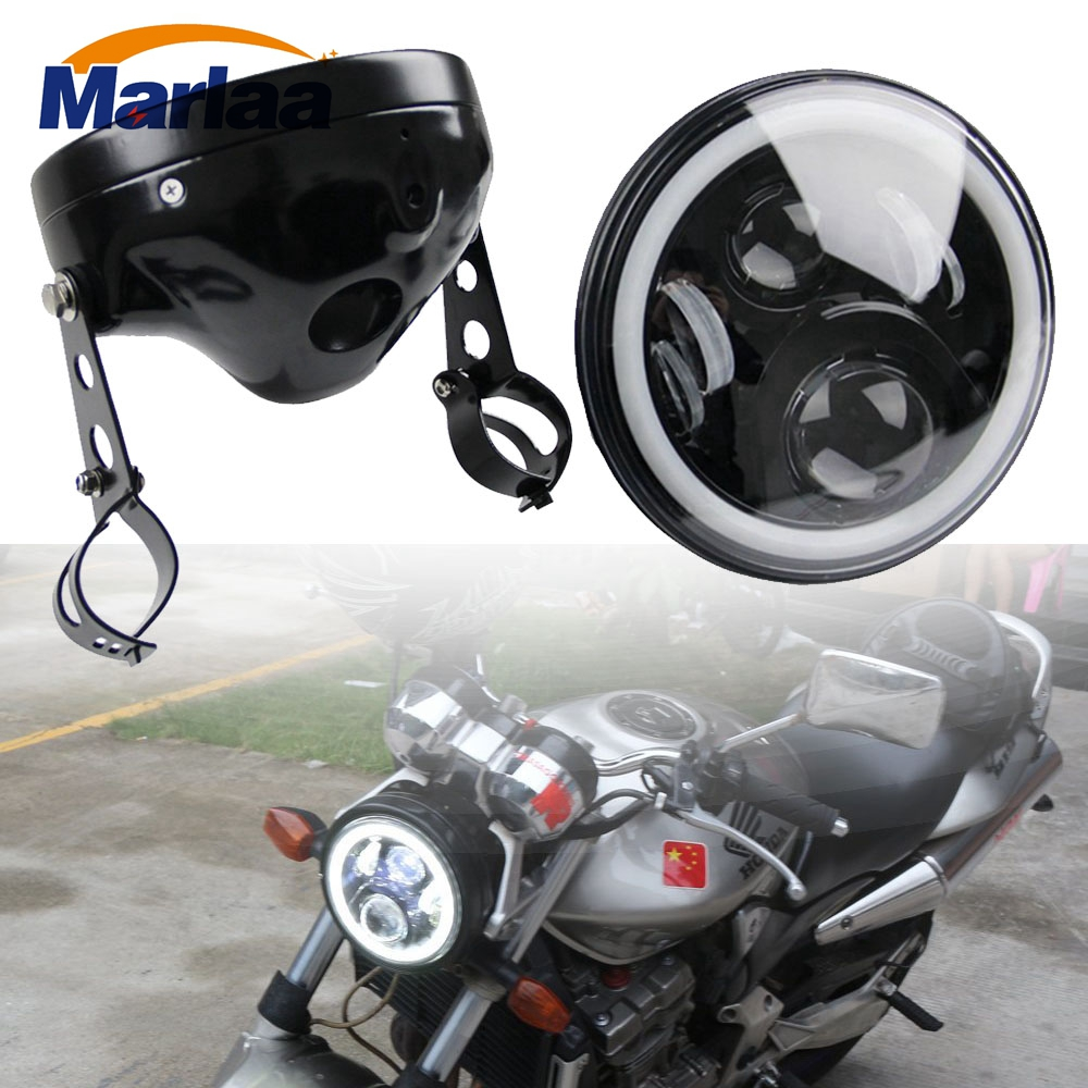 "Marlaa Motorcycle Chrome 7"" Round LED Headlight Head Lamp Assembly For CB400 CB500 CB1300 7inch Headlight Housing Bucket"