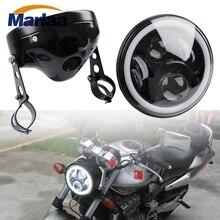 Marlaa Мотоцикл Chrome 7 «круглый светодиодный фар фара в сборе для CB400 CB500 CB1300 7 дюймов корпус фары стакан