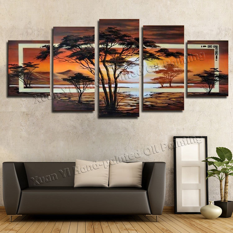 5 Panel Handmade Painting Wall Art Tree oil painting Sunrise <font><b>African</b></font> <font><b>Home</b></font> <font><b>Decoration</b></font> Abstract Landscape Oil Painting On Canvas