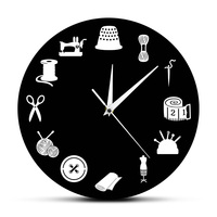 재봉틀 스티치 크래프트 벽시계 빈티지 레코드 재단사 마스터 선물 여성 홈 룸 장식 시계 퀼트 선물