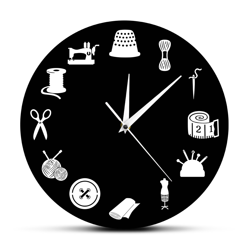 Sewing Machine Stitch By Stitch Craft Wall Clock Vintage Record Tailor Master Gift Women Home Room Decor Watch Quilter Gift