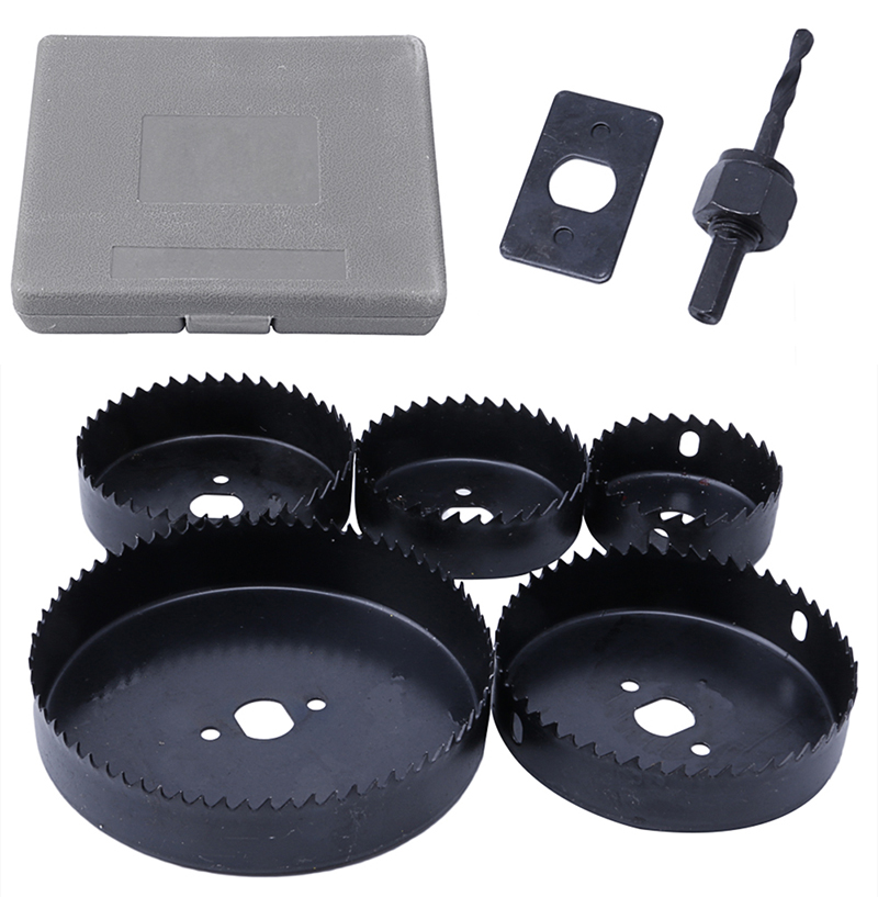 5Pcs Hole Saw Cutting Set 64-127MM Cutting Kit Tool for Wood Sheet Metal Alloy 96pcs 130mm scroll saw blade 12 lots jig cutting wood metal spiral teeth 1 8 12pcs lots 8 96pcs