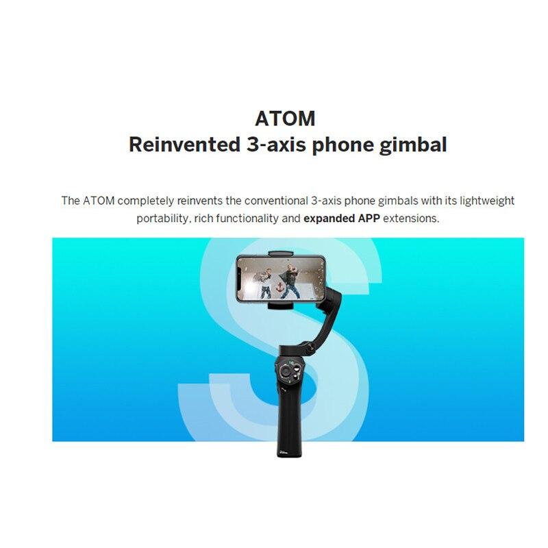 Atom 3 axis Складной Карманный ручной шарнирный стабилизатор для камеры GoPro Портативный телефон карданного подвеса для iPhone X huawei смартфоны для ... - 3