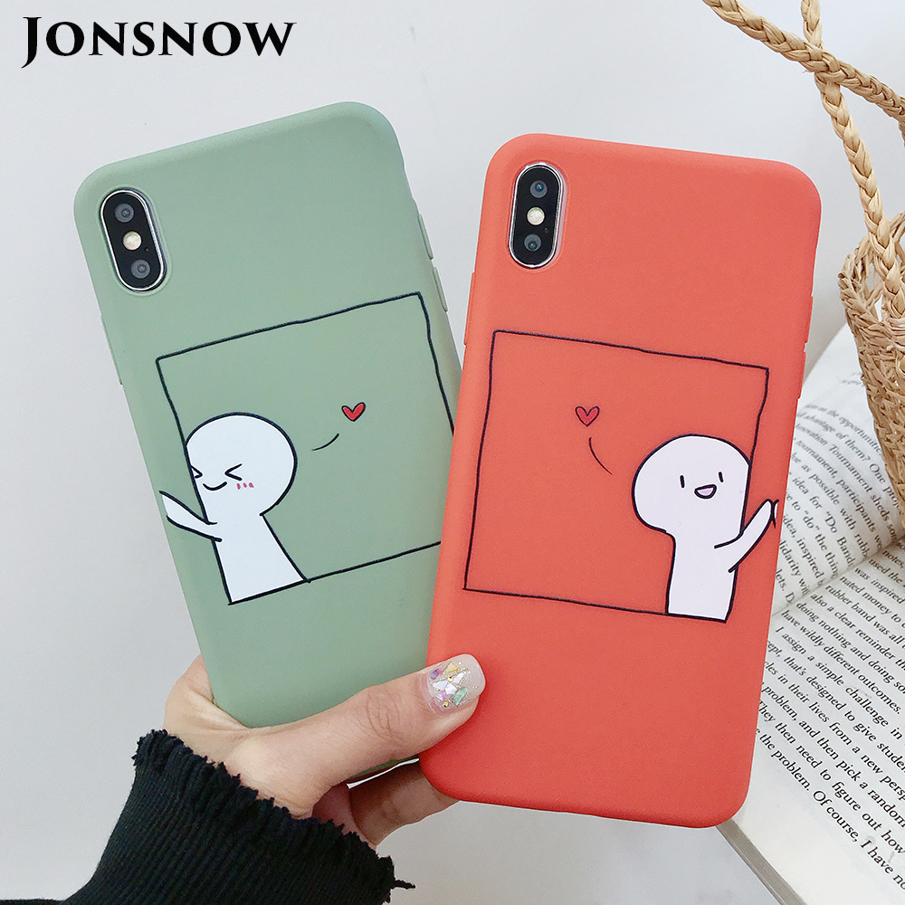 KIPX1076_1_JONSNOW Couples Style Soft Case for iPhone 7 8 6S 6 Plus Silicone Case for iPhone X XR XS Max Cartoon Painted Back Cover