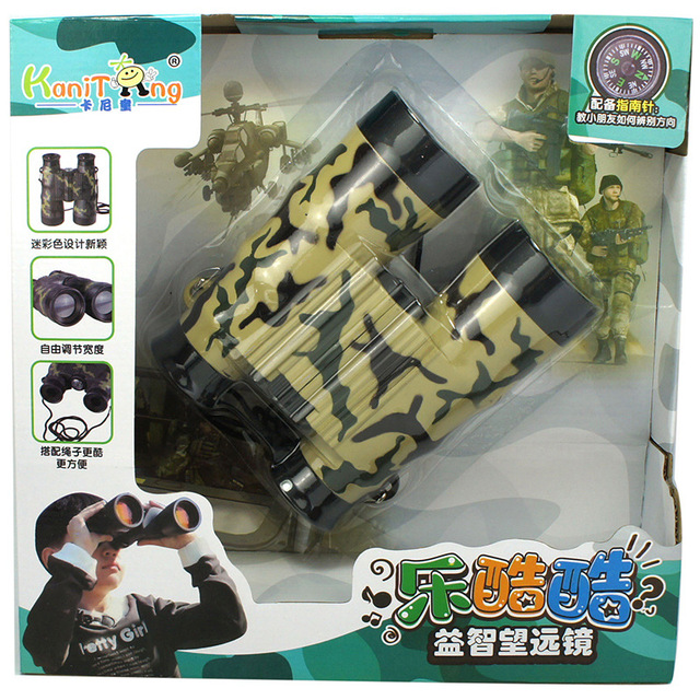 1 Pcs Folding Outdoor Zoom Binocular Telescope Scope Toys Camouflage Neck Tie Portable Army Green Children Kid Boy Science Toys