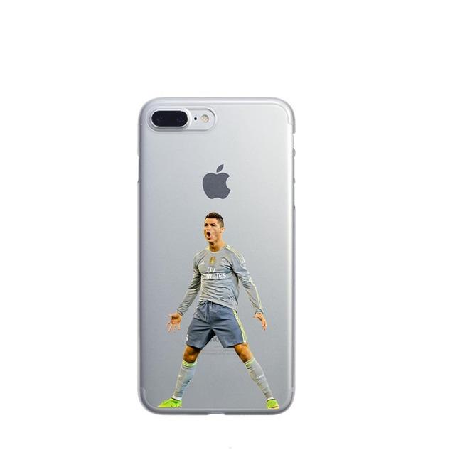 Clear Hard Phone Case Cover For iphone 6 6S 7 7Plus 5S Silicone Coque Sport Football Soccer Star Cristiano Ronaldo Messi pogba