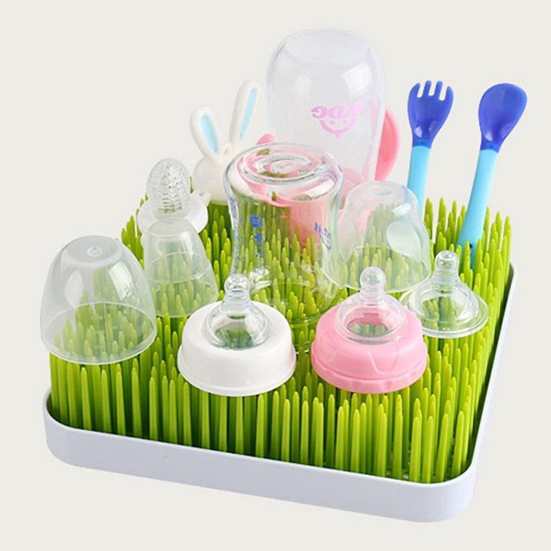 Baby Milk Bottle Drying Rack Baby Bottle Rack Grass Stlye Cleaning Dryer Drainer With Tray