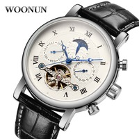 Luxury Brand Mens Wristwatches Tourbillon Male Roman Digit Automatic Mechanical Watches Leather Skeleton Relogio Masculino