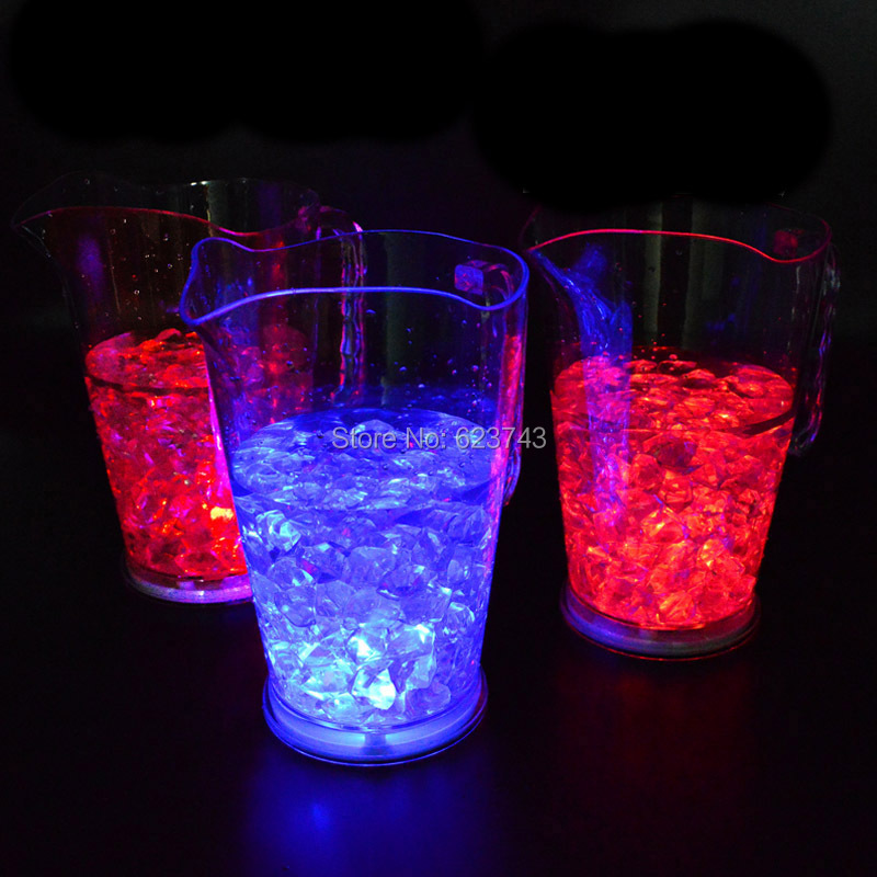 1.8 Litre Flash LED Acrylic Beer Jar Ice Bucket ,color Changing Nightclubs Beer Mug LED Light Tankard Champagne Wine Cooler