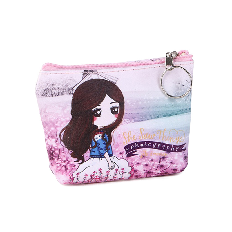 Fashion Zipper Coin Purse Pretty Girls Pattern For Women Ladies Sweet Cheap Coin Pocket Small Card Holder Case Money Bag Wallets new cute hello kitty handbag pink red girls purse cartoon cat coin bag ladies keychain wallets zipper key holder cash case