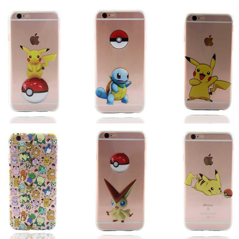 2018 Fundas de silicona de Tpu suave X 7 para Iphone 7plus 6 6s 5 5se 8 Plus Fundas de teléfono de animales de dibujos animados Pokemons Mermaid