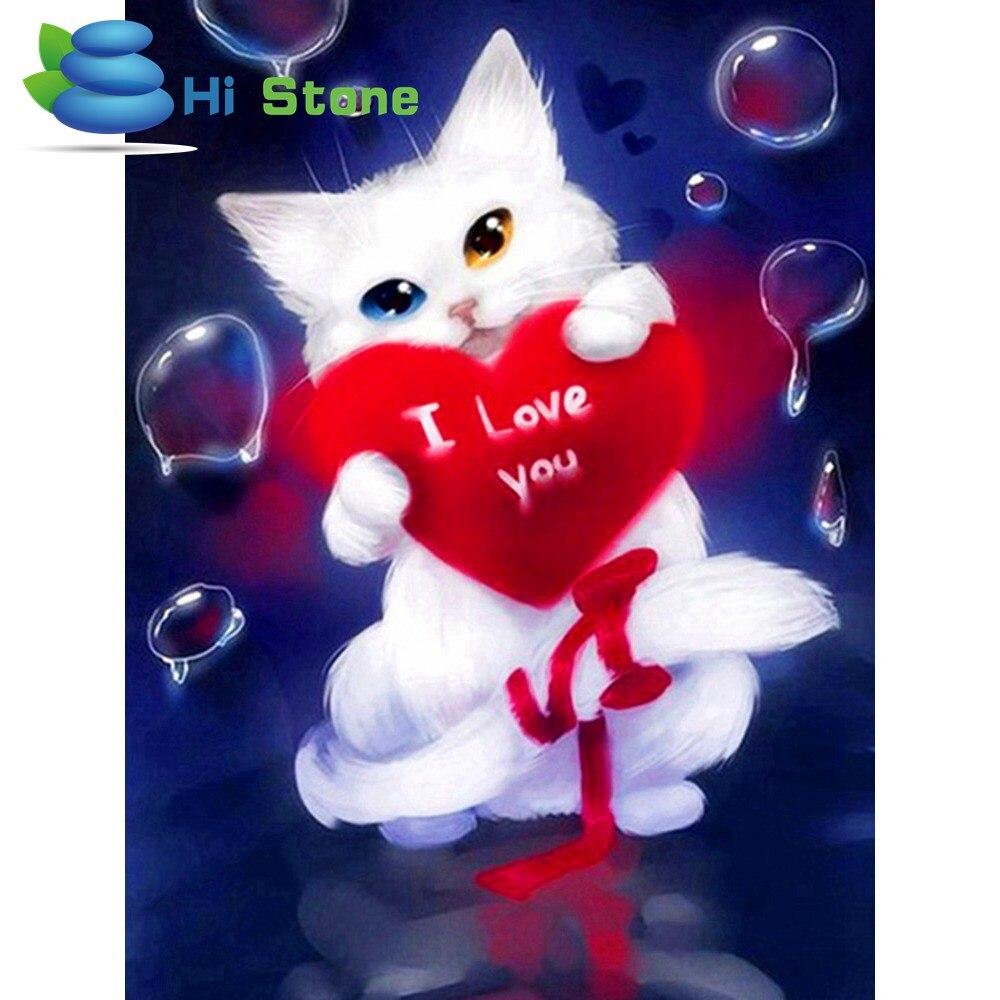 5D Diy алмазов картина вышивки крестом роспись Белый Кот в форме сердца полный квадратный алмаз подарки вышивка ремесленные