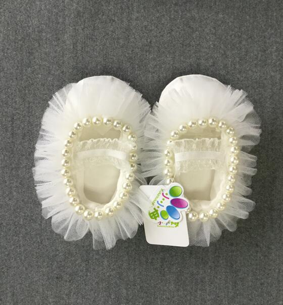 Princess Baby Girl white Lace with pearls Christening shoes