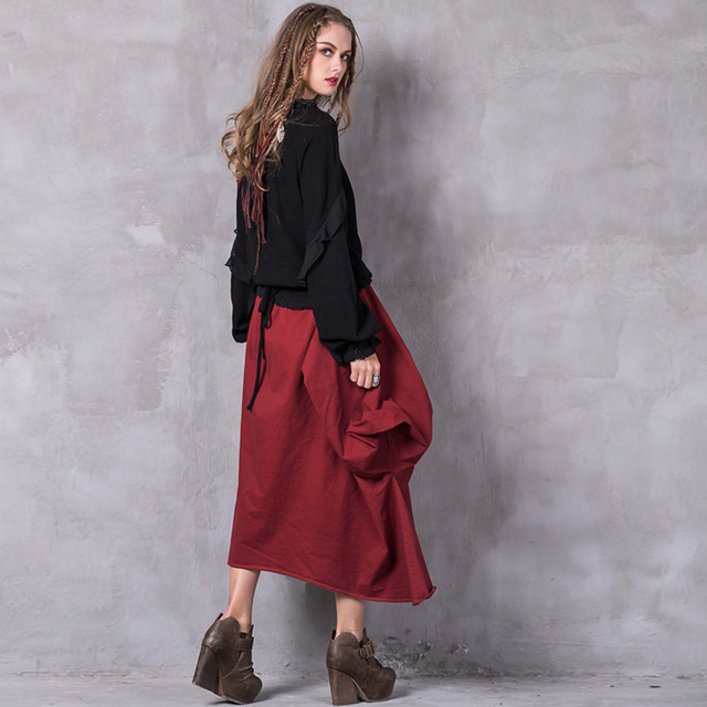 Famous brand original boutique women 39 s clothing solid color irregular stitching half length bow tie wild long skirt women in Skirts from Women 39 s Clothing