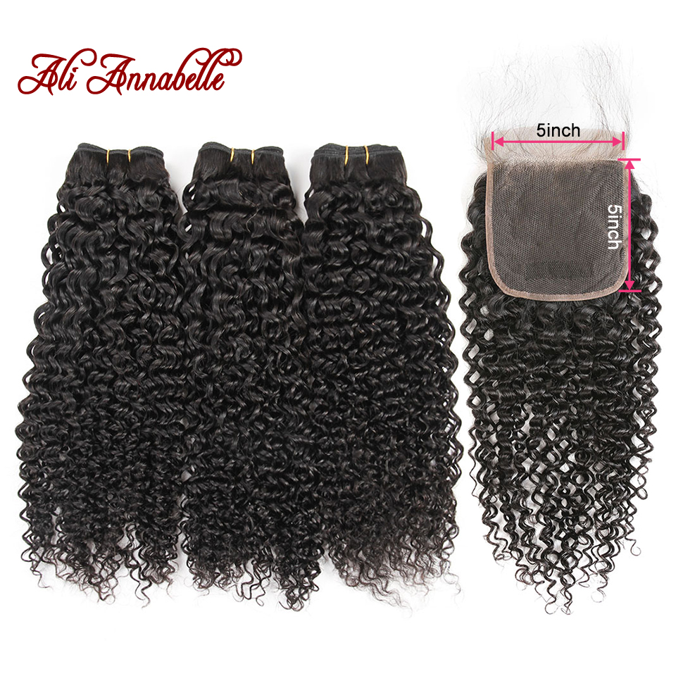Brazilian Kinky Curly Bundles With Closure Human Hair With Closure 3 Bundles Kinky Curly Remy Hair With 5*5 Swiss Lace