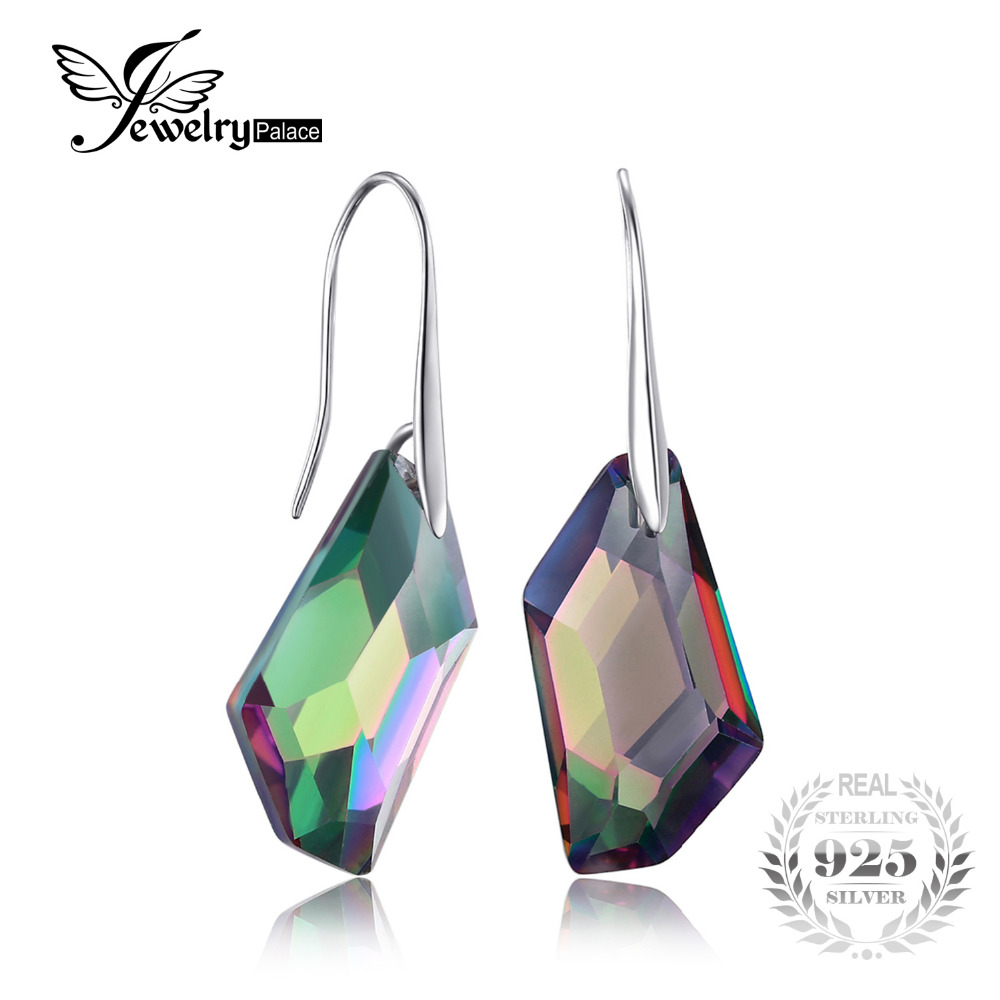 573f5fbe0 Fancy Cut 27ct Genuine Gem Stone Natural Rainbow Fire Mystic Topaz Dangle  Earrings Drop Real Solid Pure 925 Sterling Silver