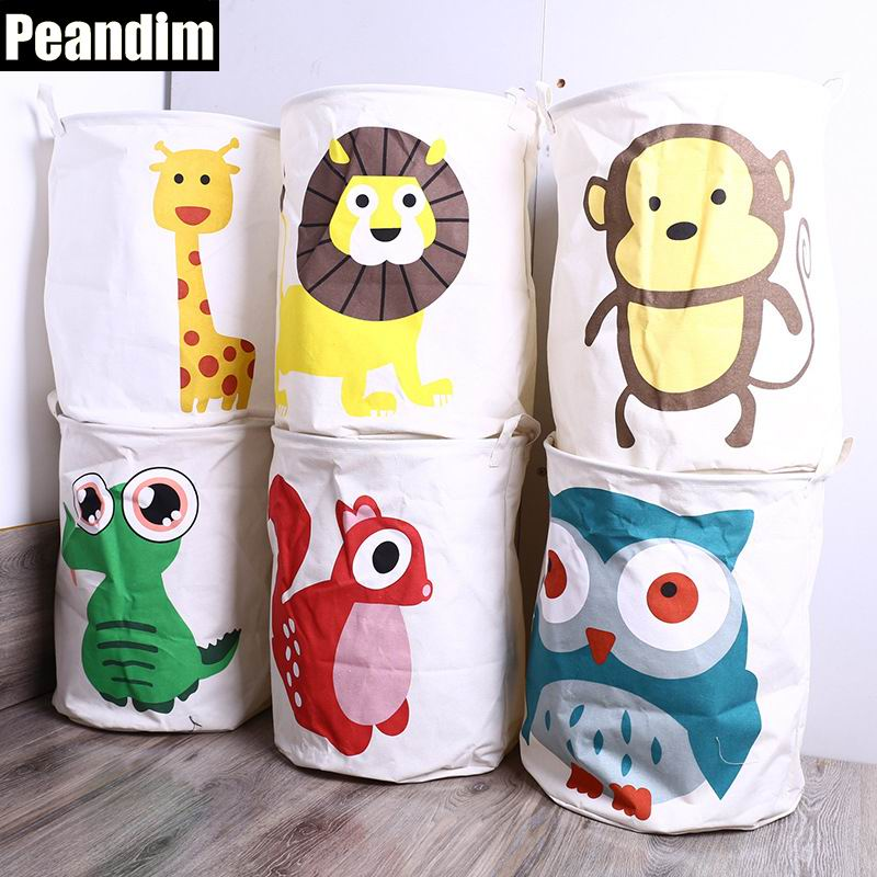 PEANDIM Children Cartoon Laundry Basket Canvas Cotton Linen Fabric Clothing Barrels Storage Big Hamper Bags For Toys/Books