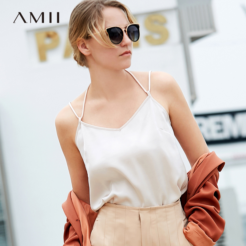 Amii Women Minimalist   Tank     Tops   2019 Solid Spaghetti Strap V Neck Female Camis   Tank     Tops