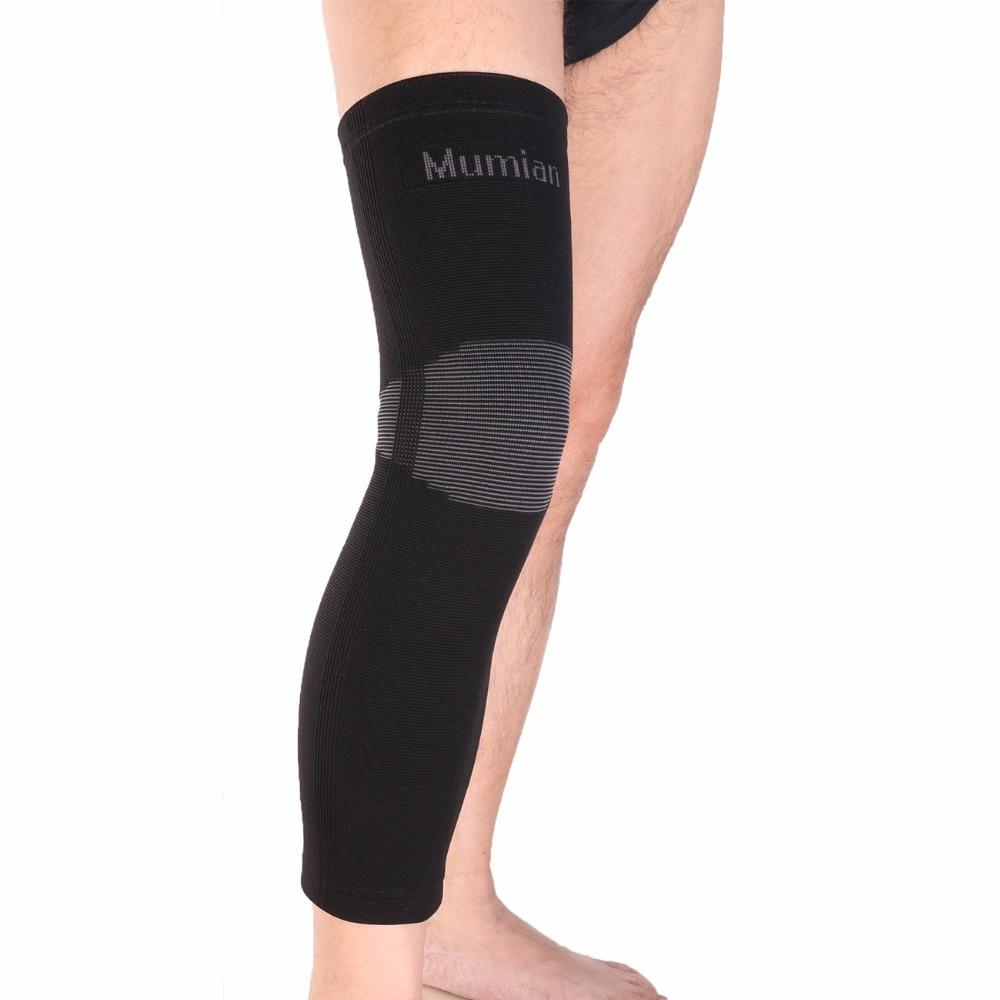 Elastic Sports Leg Knee Support Brace Wrap Protector Knee Pads Sleeve Cap Patella Guard Volleyball Long Knee - Black - 1PCS