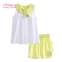 Infant Girls Summer Clothes Flower Sets 2016 New Design White Tops Green Shorts Casual Children Clothing DMCS81207-18L