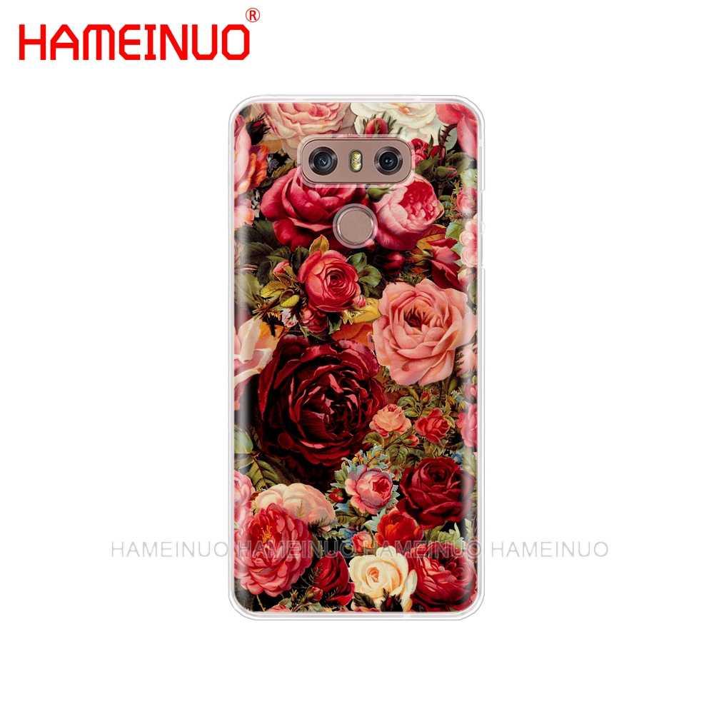 HAMEINUO farfalla Rossa su bianco rose fiore caso della copertura del telefono per LG G7 Q6 G6 MINI G5 K10 K4 K8 2017 2016 X ALIMENTAZIONE 2 V20 V30 2018