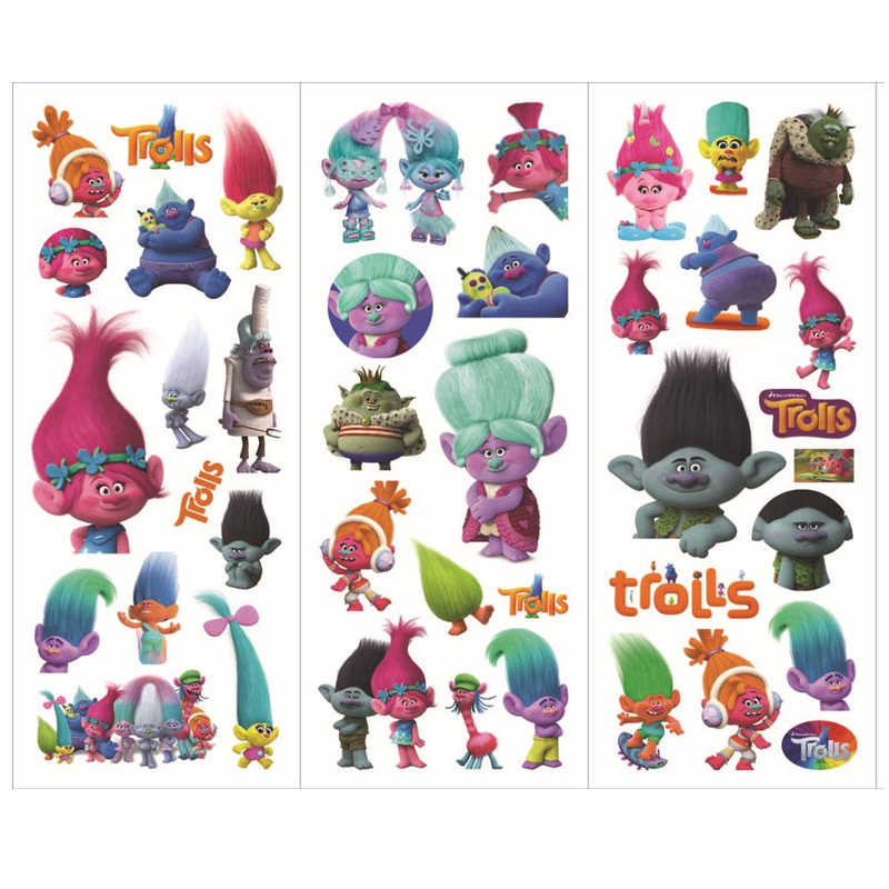10sheets Trolls Stickers Toy 3D Foam Cartoon Stickers Toy Birthday Party Decoration for Kids Gifts 6 styles Mix Sticks