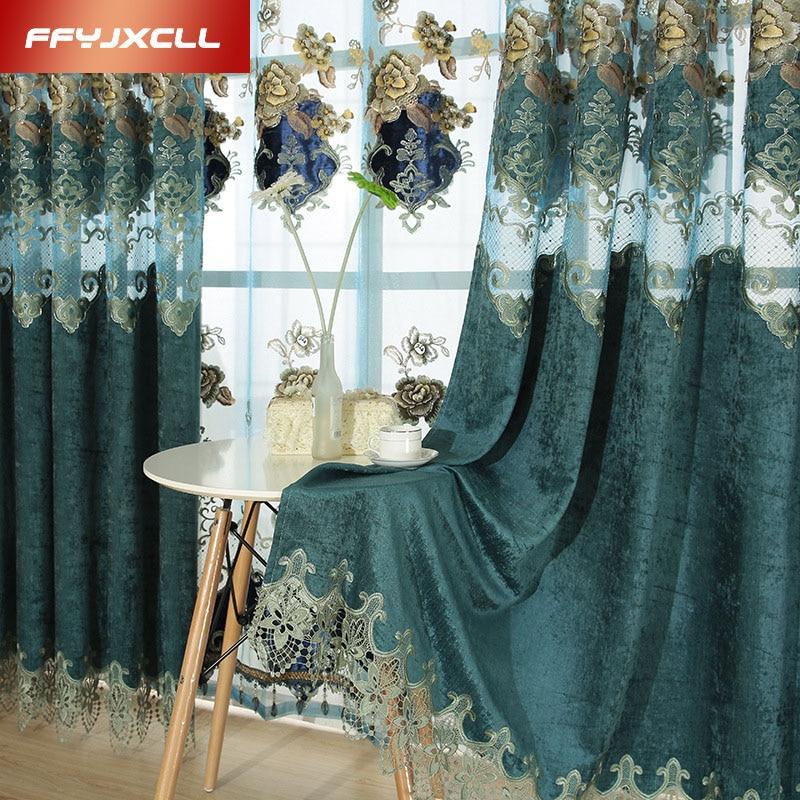 Korejský polyesterový bavlněný vyšívaný tyly Okenní závěsy pro obývací pokoj Pokojové záclony Okenní opláštění