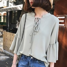 Women Long Flare Sleeve Blouse Fashion V Neck Lace UP Ladies Chiffon Blouses Korean Casual Loose Solid Tops Clothing Shirts