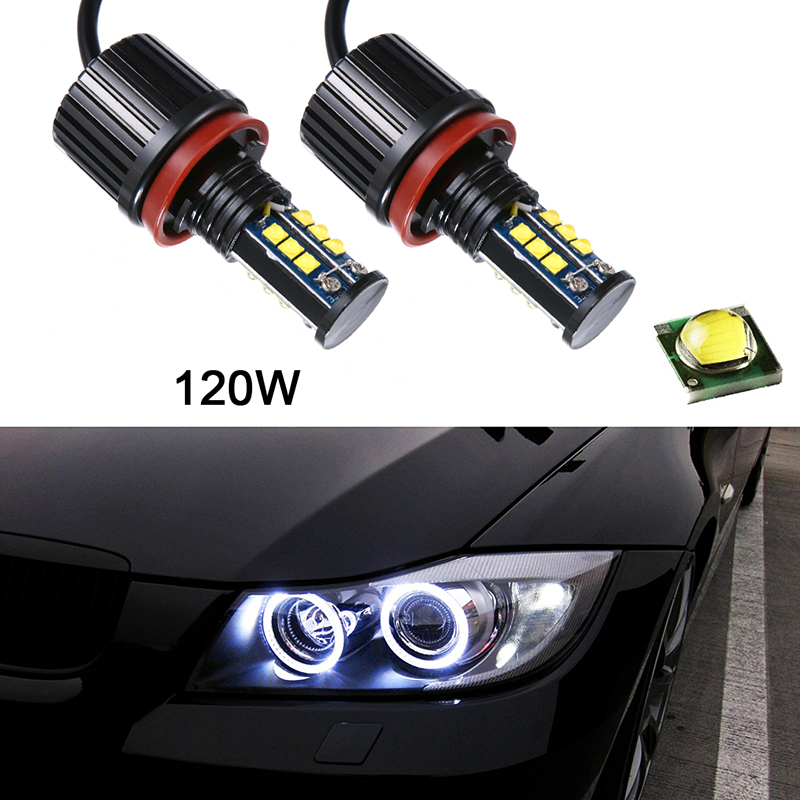 2pcs 8000LM 120W Xenon LED Car Headlight Super White H8 Angel Eyes Halo Ring Head Light Bulbs Headlamp For BMW human 2016 china hot guitar electric guitar blue left hand guitar piano integrally headstock free shipping