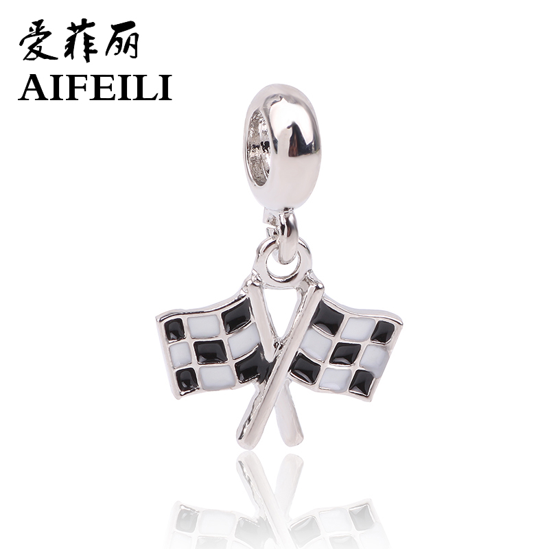 AIFEILI 2018 New Charms Original Silver Color Thread Check Flag Beads fit For Pandora Charms Bracelets & Necklaces
