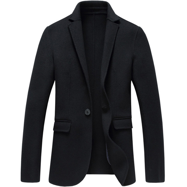 19391ddd1 Soft slim fit Cashmere wool Suit Jackets mens woolen Blazers winter fashion  business casual male Black gray solid color coats
