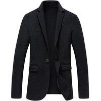 Soft Slim Fit Cashmere Wool Suit Jackets Mens Woolen Blazers Winter Fashion Business Casual Male Black