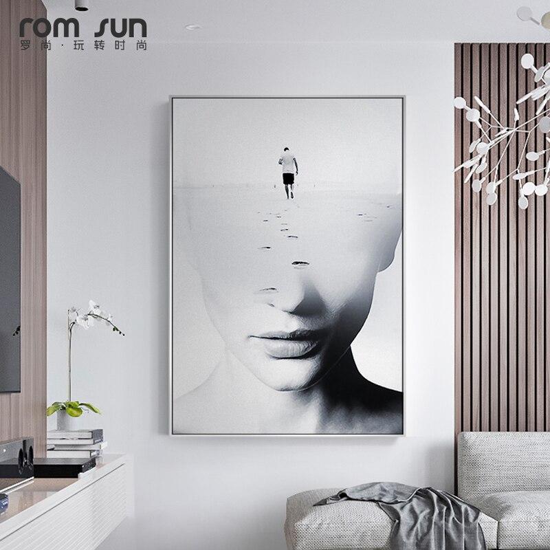 Foto Kunst Voor Aan De Muur.Us 4 33 30 Off Abstract Brainstormen Vrouwen Gezicht Nordic Stijl Canvas Schilderij Kunst Muur Foto S Voor Woonkamer Home Decor Posters En
