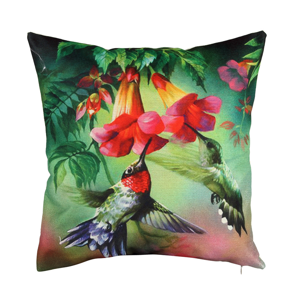 Green Spring Color Cushion Covers Flower Birds Modern