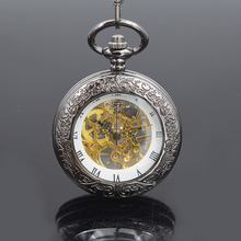 Luxury Black See Though Case Steampunk White Dial Roman Number Hand Wind Mechanical Mens Pocket Watch w/Chain Nice Gift