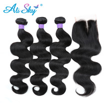 hot deal buy brazilian body wave 3pcs hair bundles deal with 4x4 lace closure 100%human hair weaves [ali sky]middlle/free/three part non remy