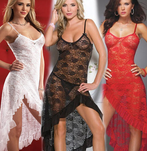 M-<font><b>6XL</b></font> Hot Summer Women <font><b>Sexy</b></font> Pyjamas Transparent Lace Long <font><b>Dress</b></font> Full Slips Spaghetti Strap Intimate Slips Black/Red/White image
