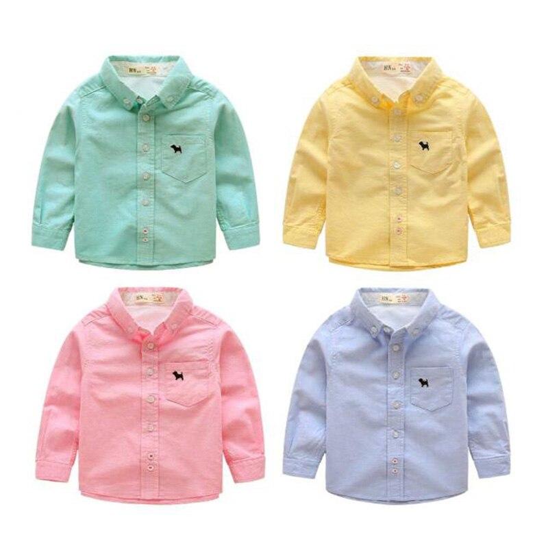Garçons chemises décontracté garçons manches longues vêtements enfants coton chemises printemps automne mignon enfants bouton-avant vêtements 2-12y