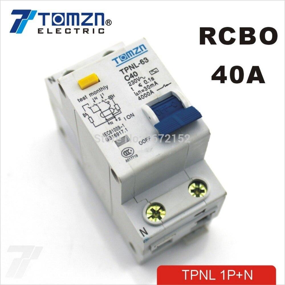TPNL 1 P + N 40A 230 V ~ 50 HZ/60 HZ fehlerstromschutzschalter mit über strom und Leck RCBO