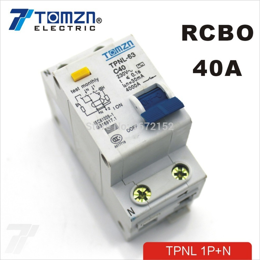 TPNL 1P+N 40A 230V~ 50HZ/60HZ Residual current Circuit breaker with over current and Leakage protection RCBOTPNL 1P+N 40A 230V~ 50HZ/60HZ Residual current Circuit breaker with over current and Leakage protection RCBO