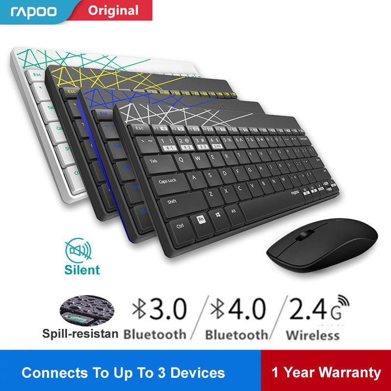 Rapoo 8000M Multi-mode Silent Wireless Keyboard Mouse Combo Switch Between Bluetooth & 2.4G Connect 3 Devices For Computer/Phone