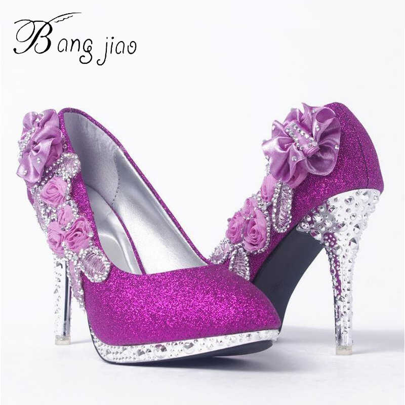 Glitter Gorgeous Wedding Bridal Evening Party Crystal High Heels Women  Shoes Sexy Woman Pumps Fashion Bridal a4be7fdfd9ae