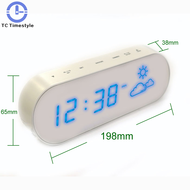 Mirror Weather Forecast LED Alarm Room Indoor Temperature And Humidity Dumb Mute Electronic Alarm Clock