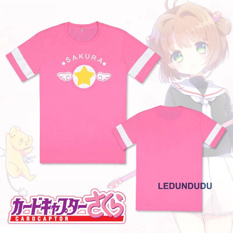 Anime Captor Sakura KINOMOTO SAKURA Cardcaptor manga corta Camisetas  Cosplay disfraces Tops verano Casual camisetas camisas nuevo en de en  AliExpress.com ... 588e80bcb67c
