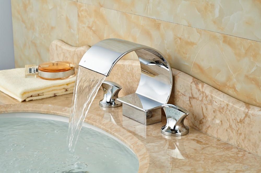 ФОТО Luxury C Curved Waterfall Bathroom Basin Faucet Double Handle Vanity Sink Mixer