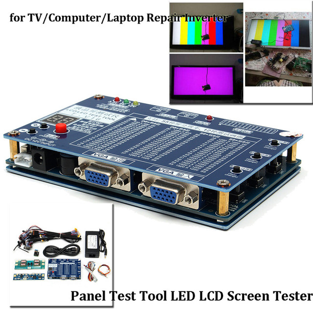 US $96 78 |19Pcs/set Panel Test Tool LED LCD Screen Tester Inverter+14  Cables For TV/Computer/Laptop Built in 55 Kinds Program Accessories-in
