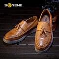 SERENE 2017 Мужчины Обувь Мужчины Обувь Повседневная Мокасины Brogue Ретро Британский Большой Размер Кожа Скольжения на Мокасины Бизнес Лодка обувь 6318