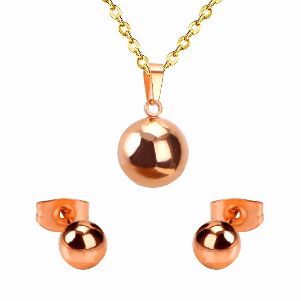LUXUSTEEL darmowe łańcuchy błyszczące kolczyki w kształcie kuli z naszyjnik wisiorek kobiety zestawy biżuterii ze stali nierdzewnej złoto/srebro/różowe złoto kolor