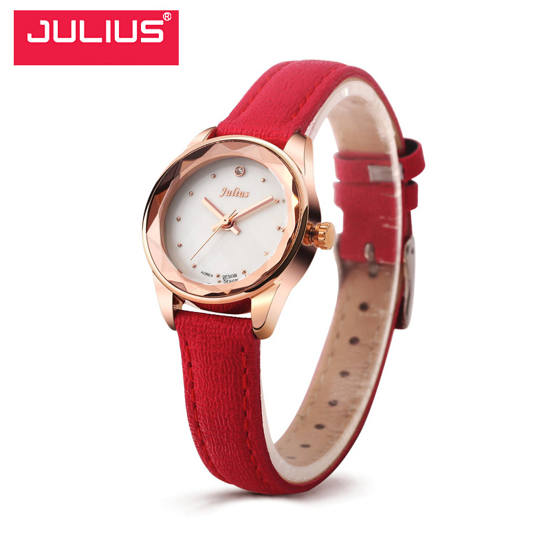 Selling Julius Luxury Brand Vintage Watches Women Gold Wristwatch casual Women's Clock Leather Lady Quartz Watch Relojes Mujer baosaili famous brand women quartz analog watches gold stainless steel wristwatch hollow lady gift relojes luxury hodinky clock