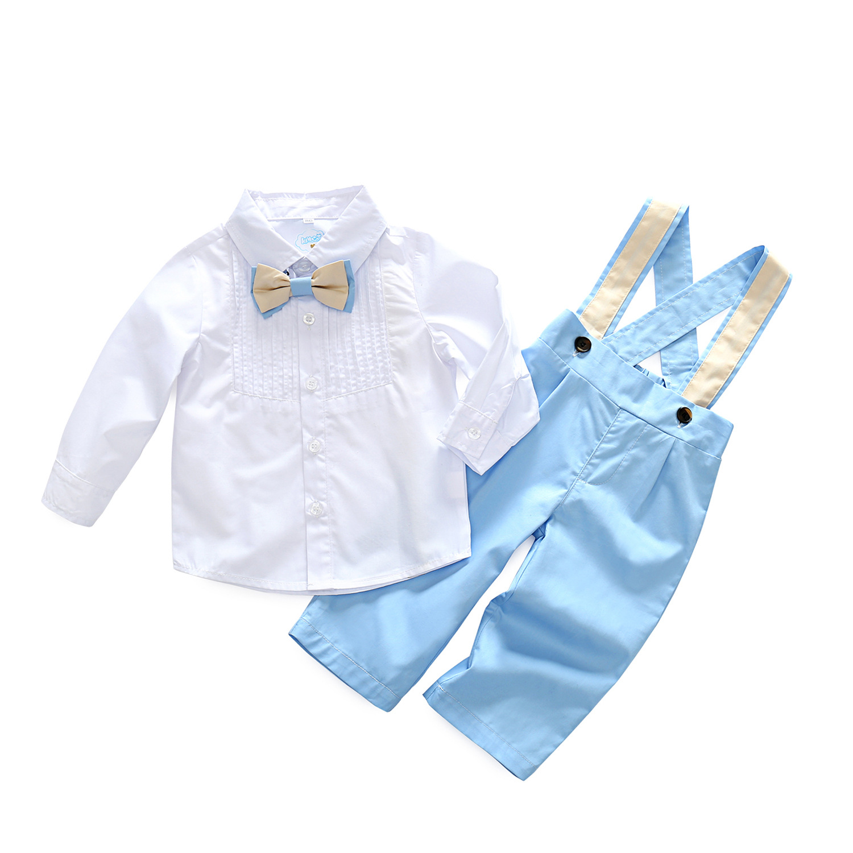 2018 new spring boy suit children's shirt tie straps gentleman suit handsome boy and summer gentleman shirt strap 2 suit factory direct